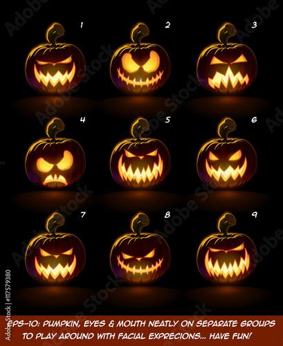 Stampa su Tela Dark Jack O Lantern Cartoon - 9 Vampire Expressions Set  Each expression on separate Layer