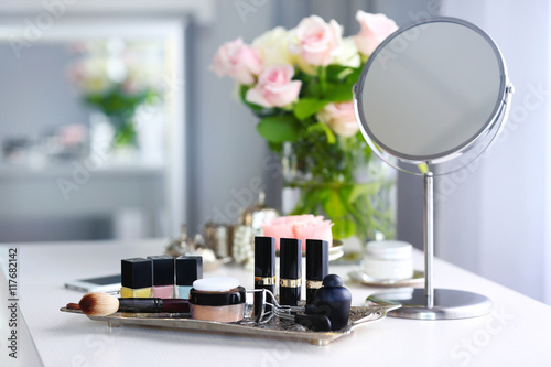 Canvas Print Cosmetic set on light dressing table