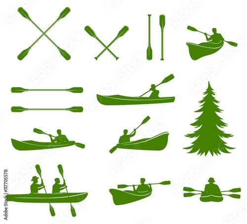Canoe silhouettes. Rafting. Fototapeta