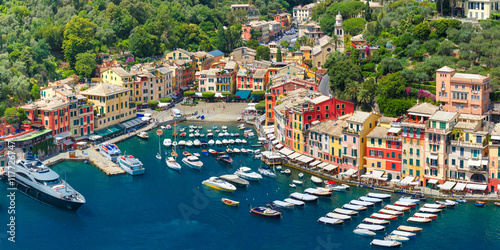 Fotografie, Obraz Aerial panoramic view of picturesque harbour of Portofino fishing village on the Italian Riviera, Liguria, Italy