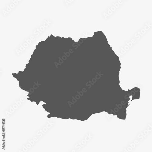 Rumunia mapa w kolorze szarym na białym tle
