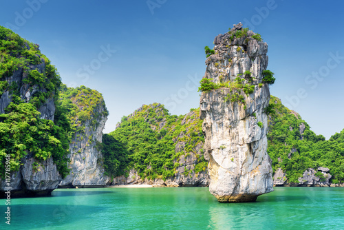 Amazing view of rock pillar and azure water in the Ha Long Bay