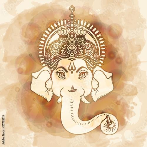 Ταπετσαρία τοιχογραφία Hand painted Ganesha
