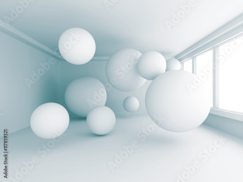 Empty White Room With Many Spheres