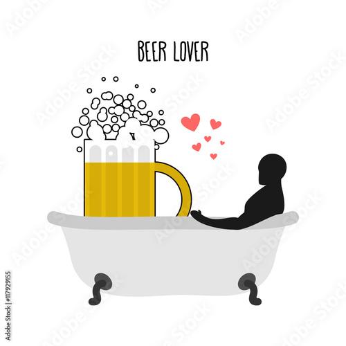Beer lover. Beer mug and man in bath. Joint bathing. Passion fee Fotobehang