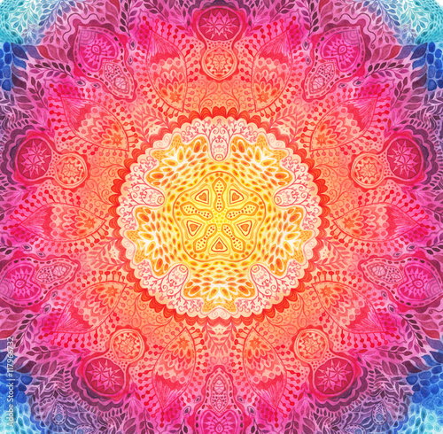 Photo Watercolor mandala. Decor for your design