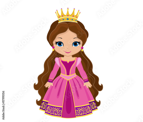 Charming medieval princess in pink dress