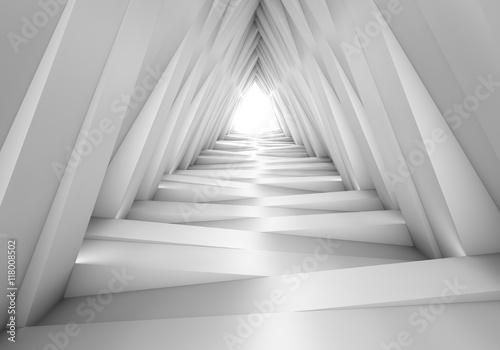 Abstrakcjonistyczny tunel w szarych notatkach. Światło na końcu tunelu
