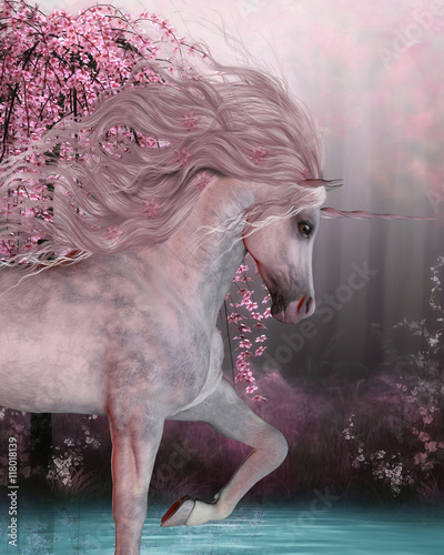 Fototapeta Cherry Blossom Unicorn - The Unicorn horse is a mythical creature with a horn on it's forehead and cloven hoofs and lives in the magical forest