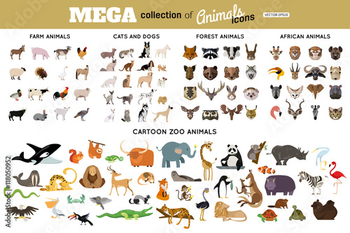 Huge collection of funny cartoon animals, birds, pets, farm, and sea creatures. African, arctic, tropical wild animals.