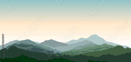 Fotografie, Tablou Landscape with mountains
