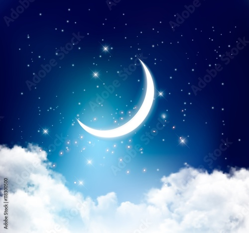 Foto Night sky background with with crescent moon, clouds and stars.