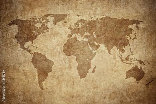 Canvas-taulu grunge map of the world