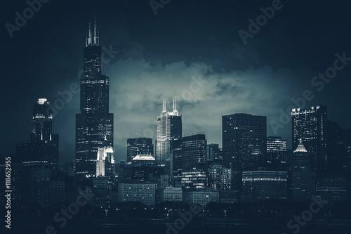 Fototapeta premium Chicago City Skyline Dark Blue