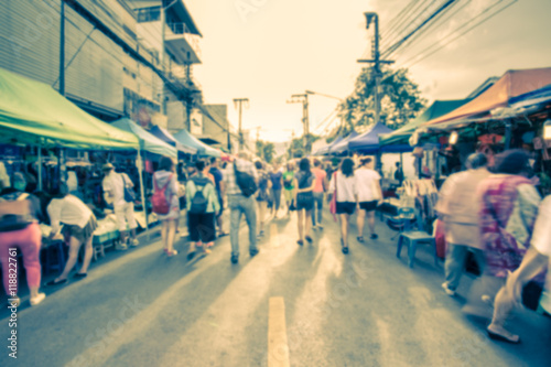 Tablou Canvas Blurred image of street market with retro color effected, blurre