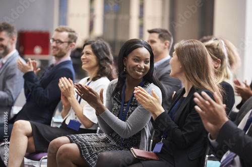 Canvas Print Audience Applauding Speaker After Conference Presentation