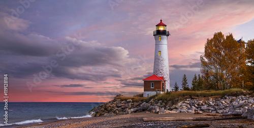 Sunset at the Crisp Point Lighthouse Fototapeta