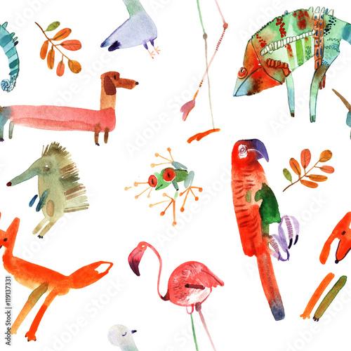 watercolor animals set