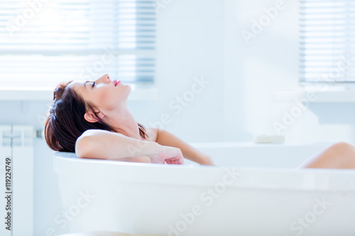 young woman in bath Fototapeta