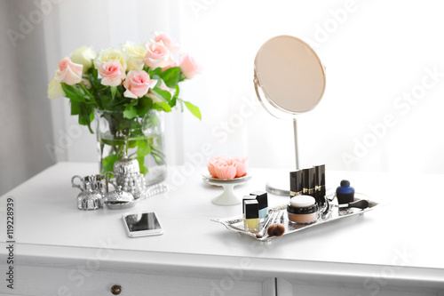 Cosmetic set on light dressing table Poster Mural XXL