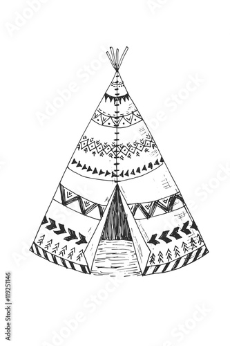 Canvas Print North American Indian tipi with tribal ornament