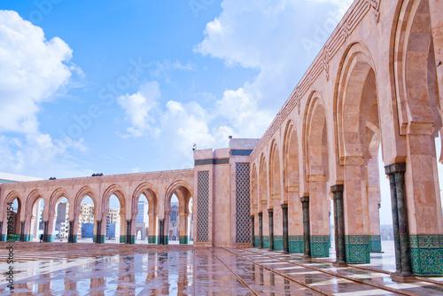 Arcade gallery in Hassan II Mosque in Casablanca, Morocco, Africa.