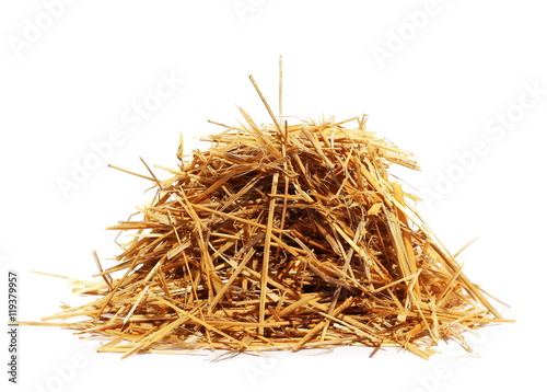 Tablou Canvas pile straw isolated on white background