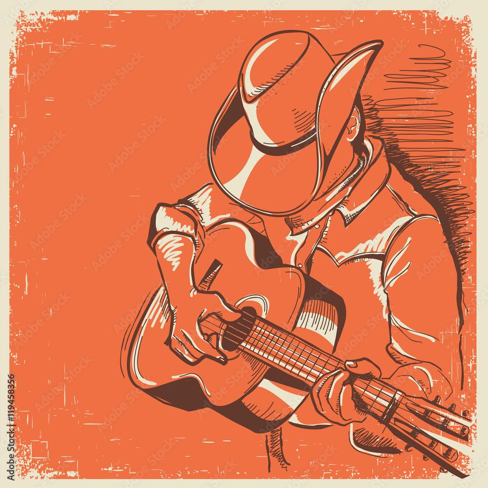 Amerykański festiwal muzyki country z muzykiem grającym na gitarze <span>plik: #119458356 | autor: GeraKTV</span>