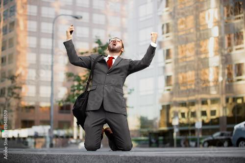 Stock market crash finance investor trader bankruptcy loss money defeated man Fototapeta