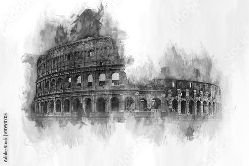 Akwarela malarstwo Koloseum w Rzymie