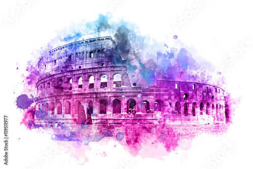 Leinwand Poster Colorful watercolor painting of the Colosseum