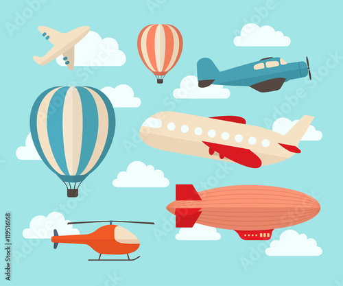 Photo Set of colorful flat air transports
