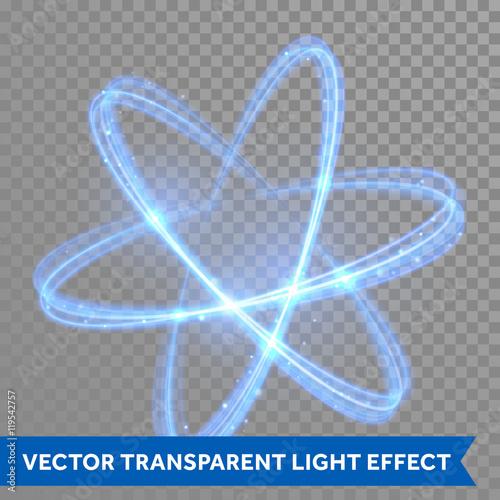 Obraz na płótnie Vector blue neon crossed circles light trail