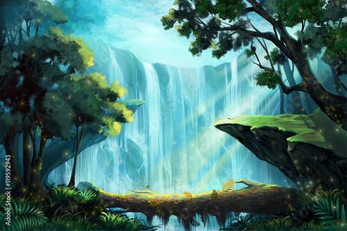 Wood Bridge wewnątrz głębokiego lasu w pobliżu wodospadu. Gra wideo w Digital CG, grafika, ilustracja koncepcja, realistyczne tło stylu Cartoon