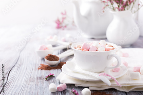 Cup of hot chocolate with mini marshmallows with cocoa on white wooden background with copy space.