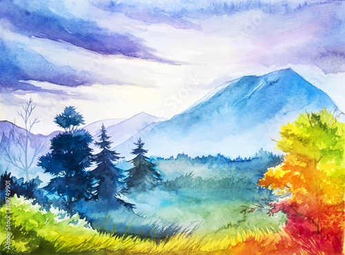 Jesień krajobraz. Akwarela ilustracja.
