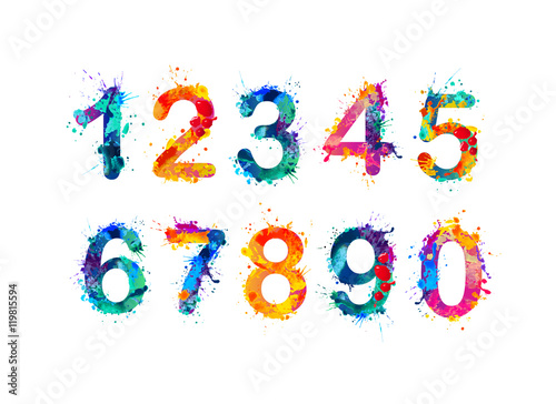 Carta da parati Collection of digits. Numbers, figures