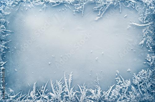 Frost Crystal Border on Ice Fototapeta