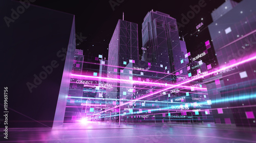 Foto Digital skyscrappers with wireframe texture. Technology and conn