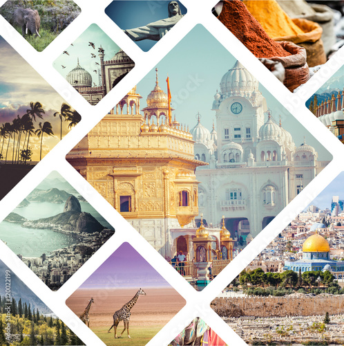 Canvas Print Beautiful vacation collage made from mahy photos.