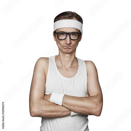 Fotografia, Obraz Funny sport nerd pretending tough guy isolated on white