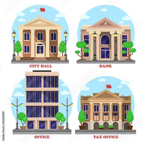 Carta da parati Bank with dollar currency sign and skyscraper office, national city hall with flag and tax revenue building or house with bushes and trees