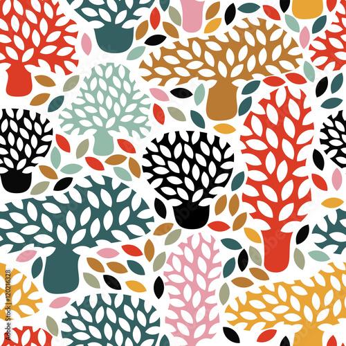 Plakat Abstrakcyjny jesienny drzewostan