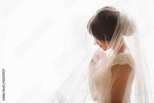 Carta da parati fragile  bride was covered with a white veil