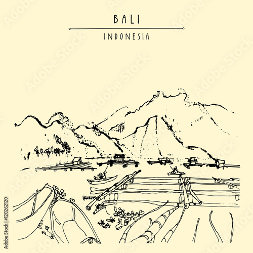 Volcano lake Batur, floating garden and fishing boats near Kintamani, Bali province, Indonesia, Southeast Asia. Hand drawing. Travel sketch. Book illustration, postcard or poster Fototapete