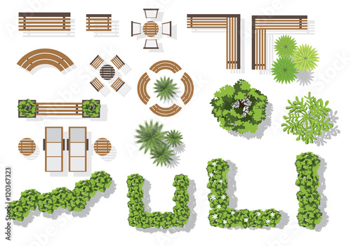 Photo Set of vector wooden benches and treetop symbols