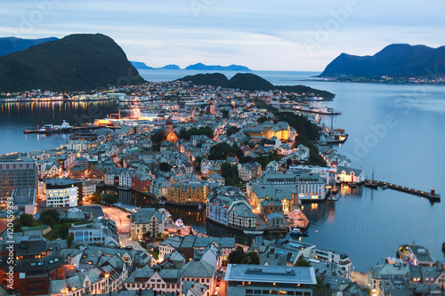 Canvas Print Beautiful super wide-angle summer aerial view of Alesund, Norway, with skyline a