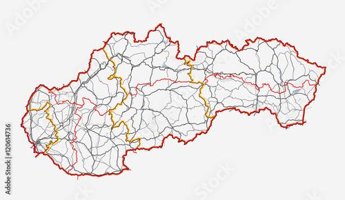 Foto Map of Slovakia. Roads