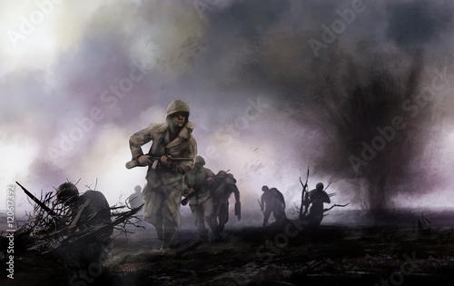 Amerykańscy żołnierze na polu bitwy. WW2 ilustracja plutonu żołnierzy amerykańskich atakuje na polu bitwy z eksplozji i mgły tle.