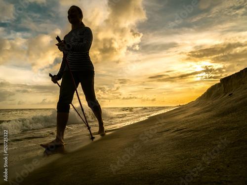 Nordic walking on the beach фототапет